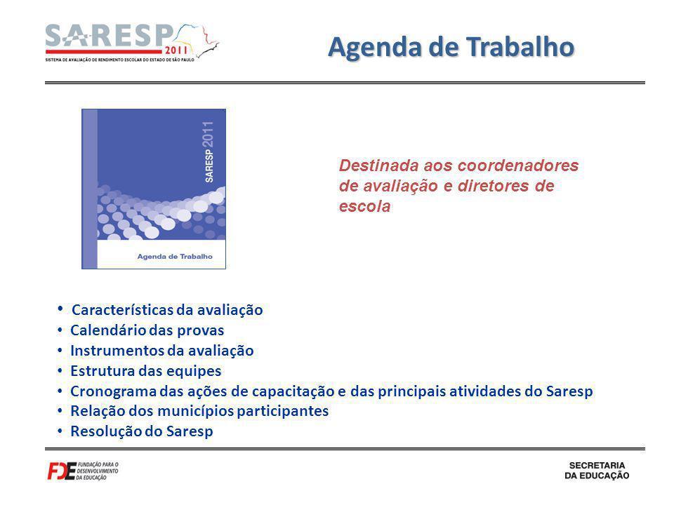 Agenda de Trabalho Características da avaliação Calendário das provas Instrumentos da avaliação Estrutura das equipes Cronograma das ações de capacita