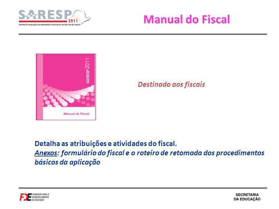 Manual do Fiscal Detalha as atribuições e atividades do fiscal. Anexos: formulário do fiscal e o roteiro de retomada dos procedimentos básicos da apli