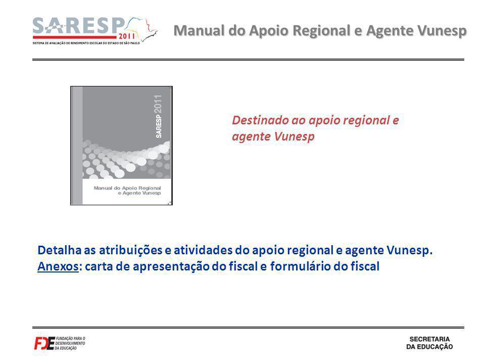 Manual do Apoio Regional e Agente Vunesp Detalha as atribuições e atividades do apoio regional e agente Vunesp. Anexos: carta de apresentação do fisca