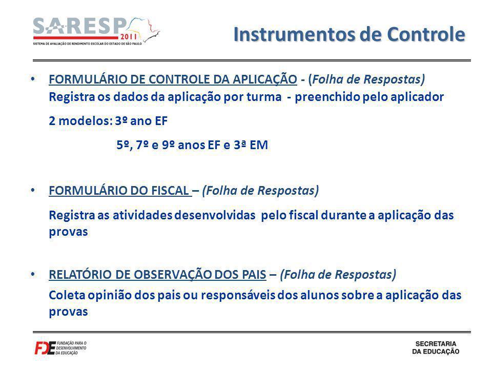 FORMULÁRIO DE CONTROLE DA APLICAÇÃO - (Folha de Respostas) Registra os dados da aplicação por turma - preenchido pelo aplicador 2 modelos: 3º ano EF 5