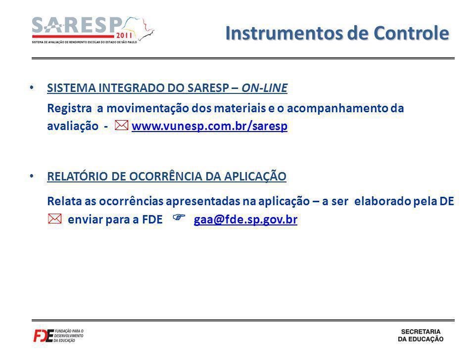 SISTEMA INTEGRADO DO SARESP – ON-LINE Registra a movimentação dos materiais e o acompanhamento da avaliação - www.vunesp.com.br/sarespwww.vunesp.com.b