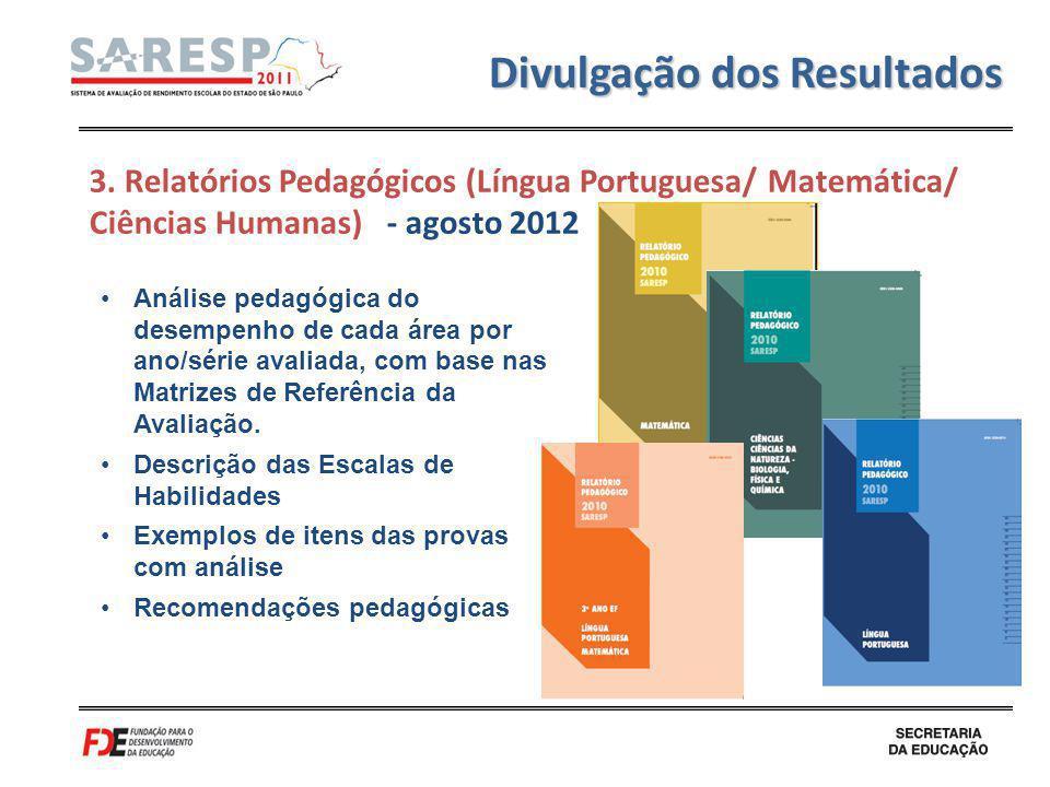 Divulgação dos Resultados Análise pedagógica do desempenho de cada área por ano/série avaliada, com base nas Matrizes de Referência da Avaliação. Desc