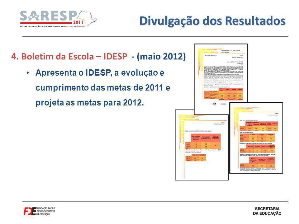 Divulgação dos Resultados 4. Boletim da Escola – IDESP - (maio 2012) Apresenta o IDESP, a evolução e cumprimento das metas de 2011 e projeta as metas