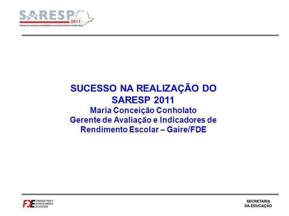SUCESSO NA REALIZAÇÃO DO SARESP 2011 Maria Conceição Conholato Gerente de Avaliação e Indicadores de Rendimento Escolar – Gaire/FDE