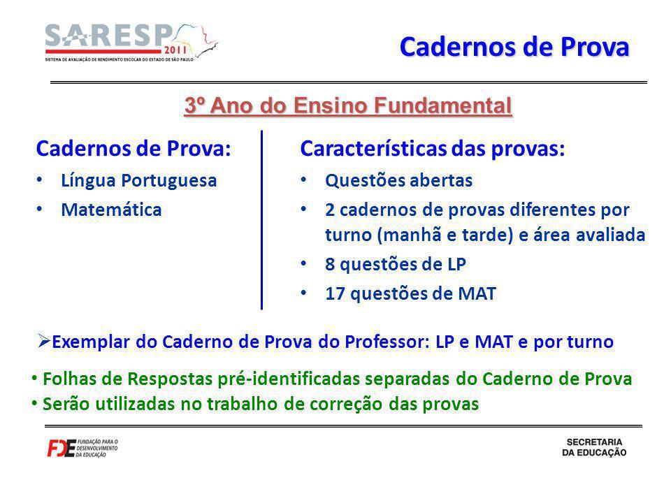 Cadernos de Prova Cadernos de Prova: Língua Portuguesa Matemática Características das provas: Questões abertas 2 cadernos de provas diferentes por tur