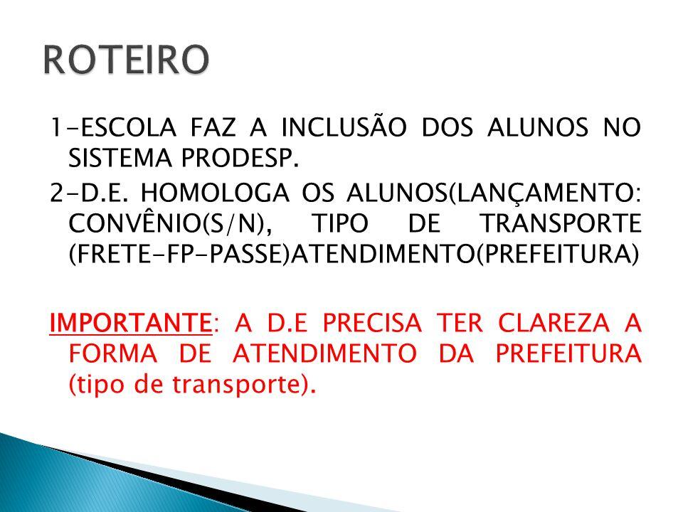 1-ESCOLA FAZ A INCLUSÃO DOS ALUNOS NO SISTEMA PRODESP. 2-D.E. HOMOLOGA OS ALUNOS(LANÇAMENTO: CONVÊNIO(S/N), TIPO DE TRANSPORTE (FRETE-FP-PASSE)ATENDIM