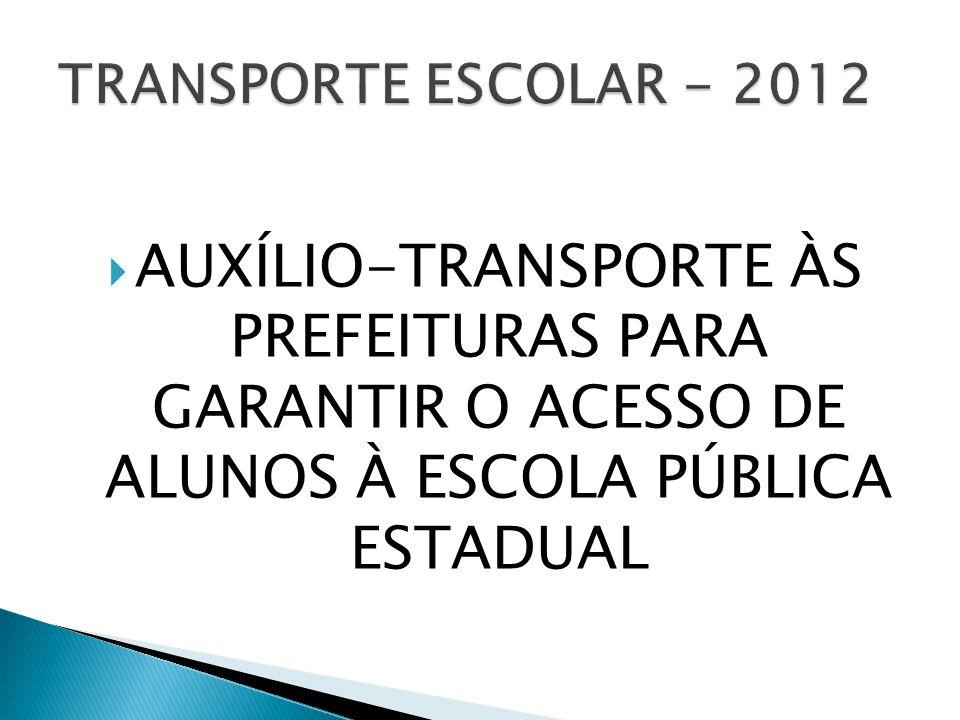 AUXÍLIO-TRANSPORTE ÀS PREFEITURAS PARA GARANTIR O ACESSO DE ALUNOS À ESCOLA PÚBLICA ESTADUAL