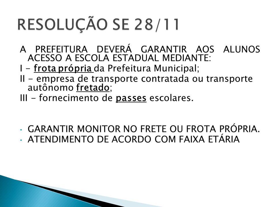 A PREFEITURA DEVERÁ GARANTIR AOS ALUNOS ACESSO A ESCOLA ESTADUAL MEDIANTE: I - frota própria da Prefeitura Municipal; II - empresa de transporte contr