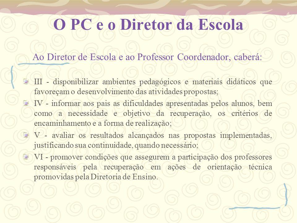 O PC e o Diretor da Escola Ao Diretor de Escola e ao Professor Coordenador, caberá: III - disponibilizar ambientes pedagógicos e materiais didáticos q