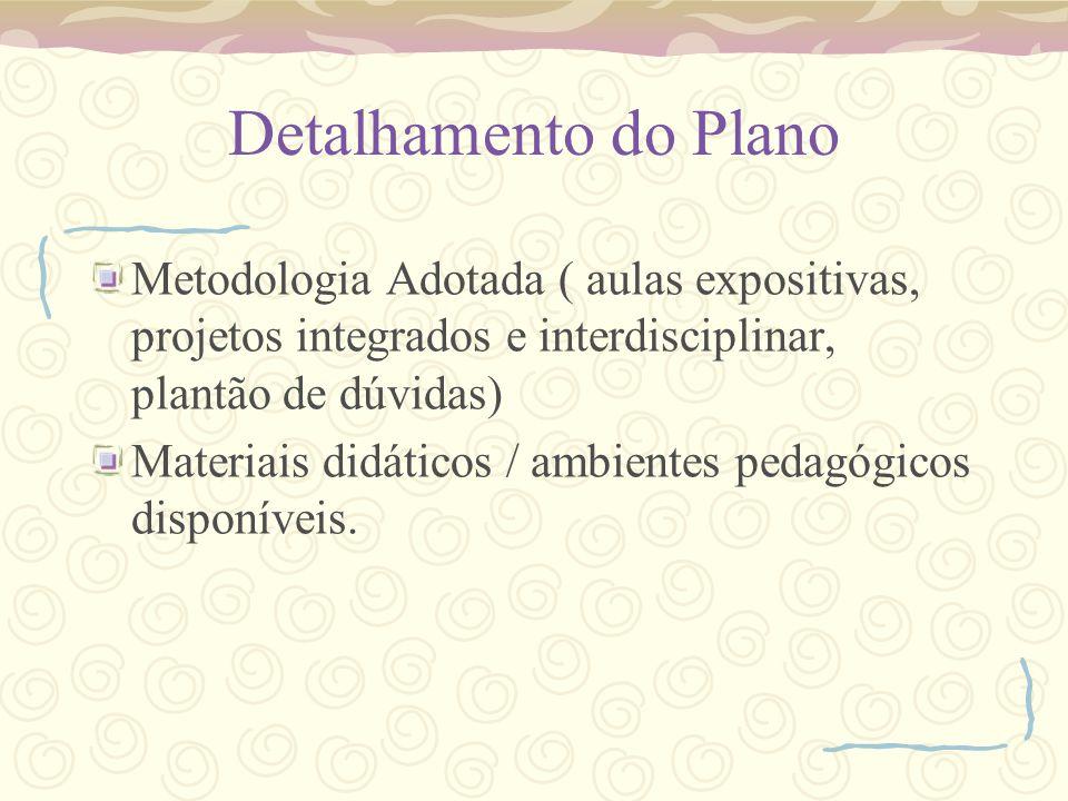 Detalhamento do Plano Metodologia Adotada ( aulas expositivas, projetos integrados e interdisciplinar, plantão de dúvidas) Materiais didáticos / ambie