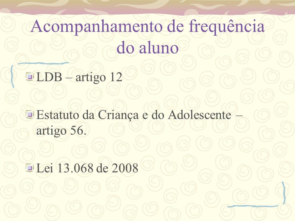 Acompanhamento de frequência do aluno LDB – artigo 12 Estatuto da Criança e do Adolescente – artigo 56. Lei 13.068 de 2008