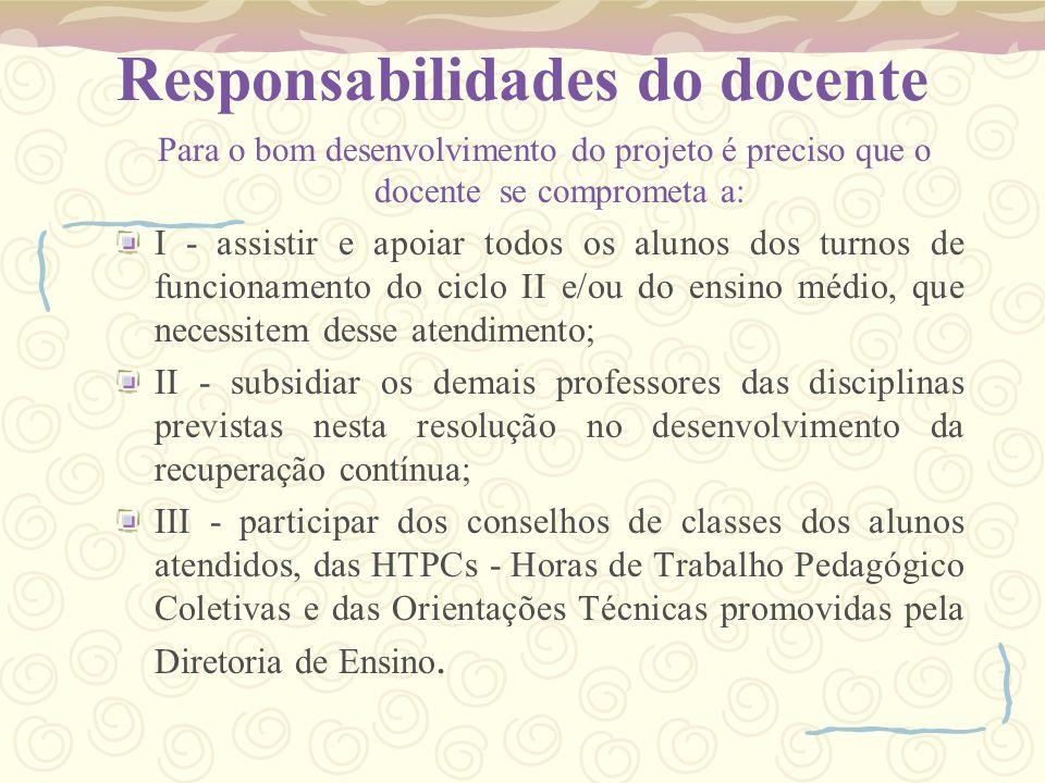Responsabilidades do docente Para o bom desenvolvimento do projeto é preciso que o docente se comprometa a: I - assistir e apoiar todos os alunos dos