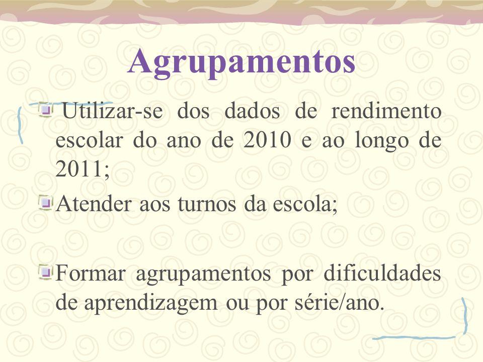 Agrupamentos Utilizar-se dos dados de rendimento escolar do ano de 2010 e ao longo de 2011; Atender aos turnos da escola; Formar agrupamentos por difi