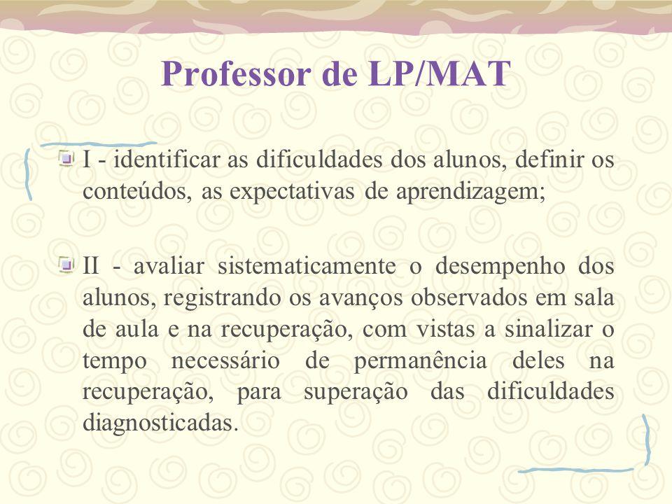 Professor de LP/MAT I - identificar as dificuldades dos alunos, definir os conteúdos, as expectativas de aprendizagem; II - avaliar sistematicamente o