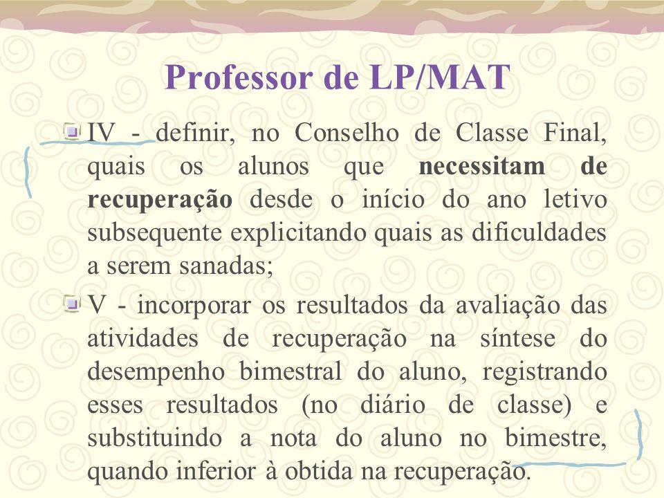 Professor de LP/MAT IV - definir, no Conselho de Classe Final, quais os alunos que necessitam de recuperação desde o início do ano letivo subsequente