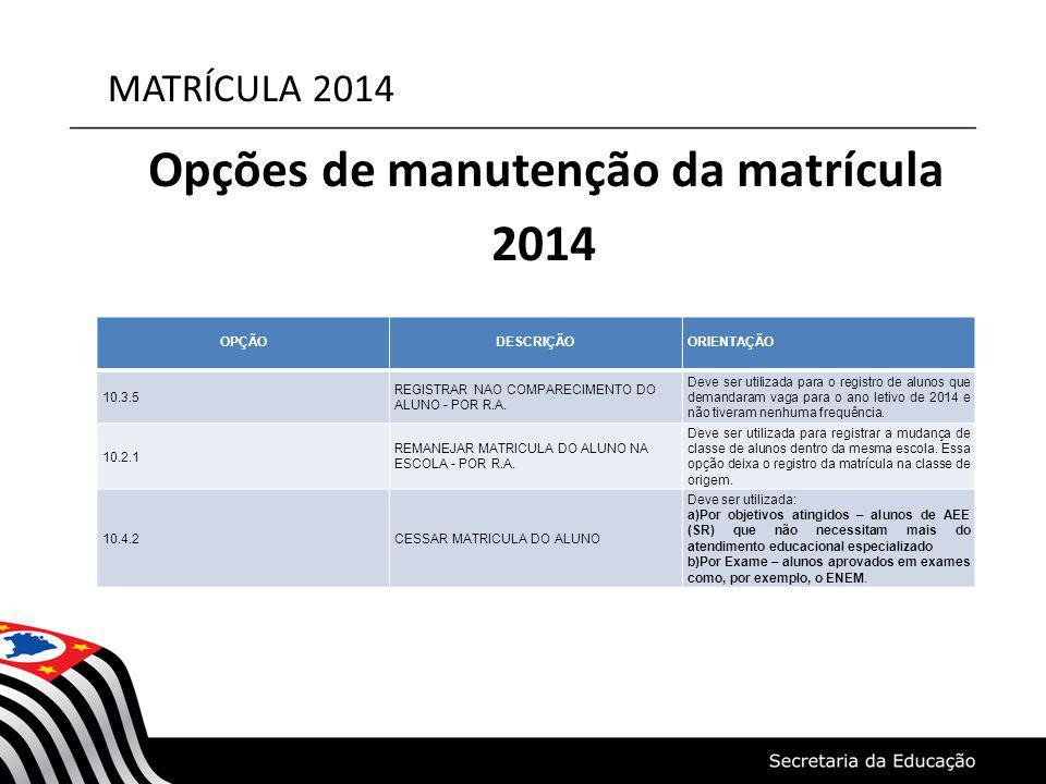 MATRÍCULA 2014 Opções de manutenção da matrícula 2014 OPÇÃODESCRIÇÃOORIENTAÇÃO 10.3.5 REGISTRAR NAO COMPARECIMENTO DO ALUNO - POR R.A. Deve ser utiliz