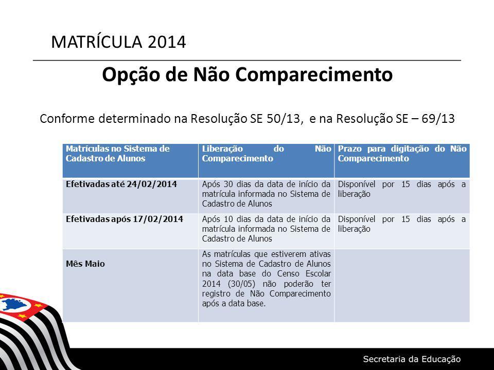 MATRÍCULA 2014 Opção de Não Comparecimento Conforme determinado na Resolução SE 50/13, e na Resolução SE – 69/13 Matrículas no Sistema de Cadastro de