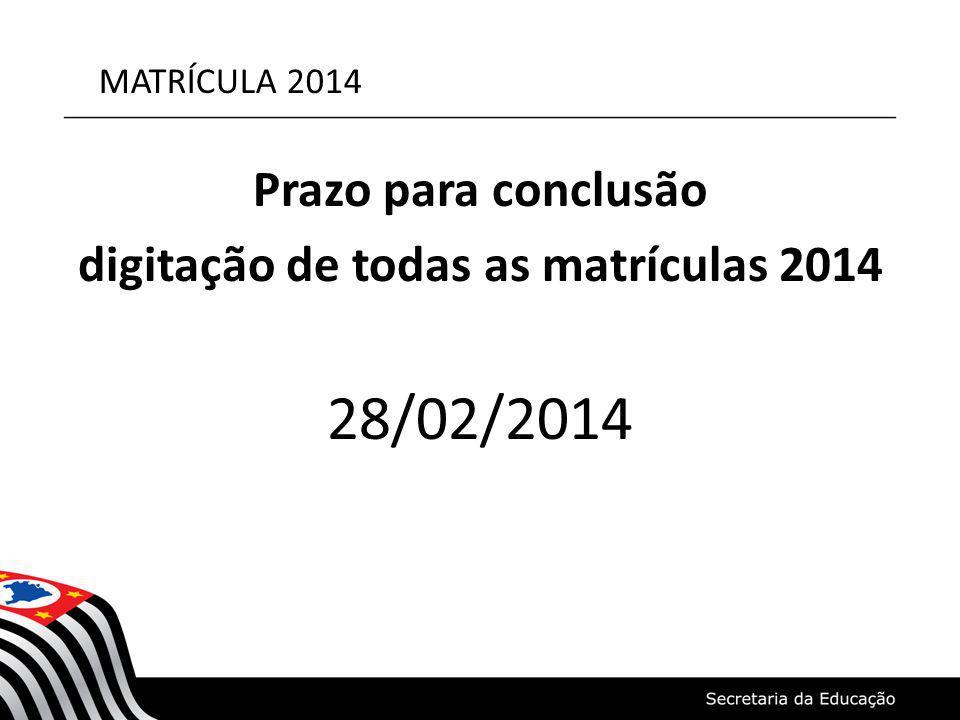 MATRÍCULA 2014 Prazo para conclusão digitação de todas as matrículas 2014 28/02/2014