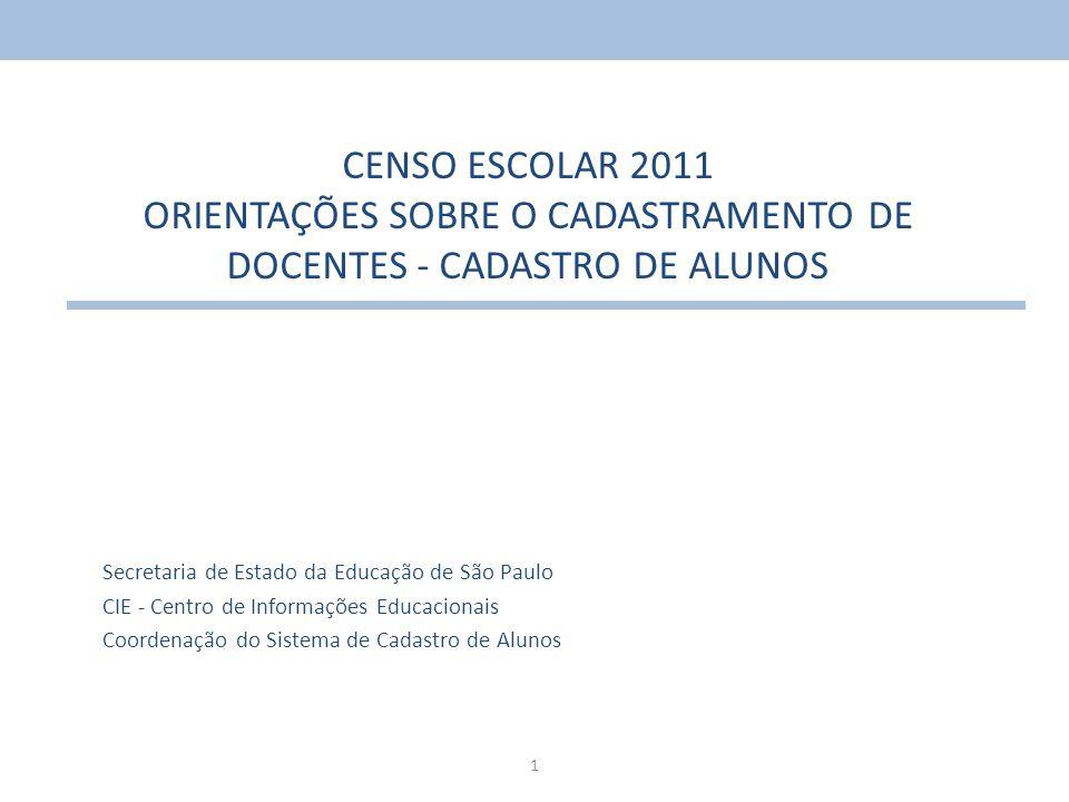 1 CENSO ESCOLAR 2011 ORIENTAÇÕES SOBRE O CADASTRAMENTO DE DOCENTES - CADASTRO DE ALUNOS Secretaria de Estado da Educação de São Paulo CIE - Centro de
