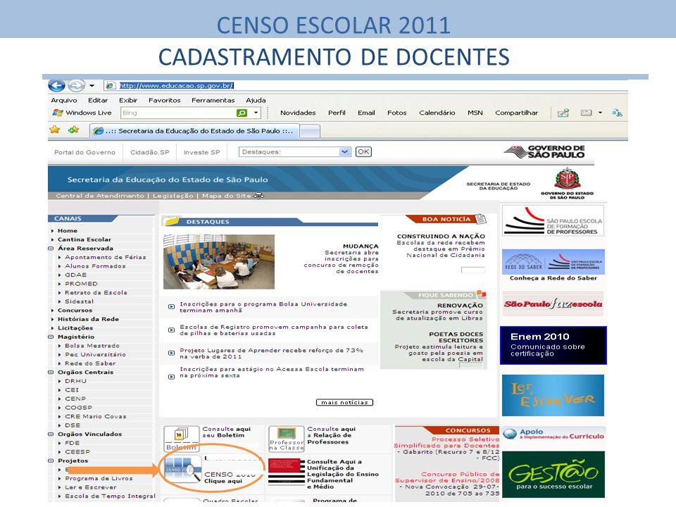 CENSO ESCOLAR 2011 CADASTRAMENTO DE DOCENTES