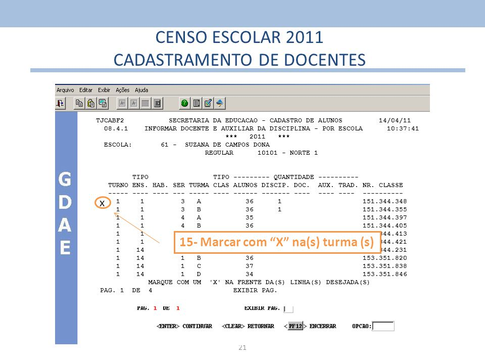21 CENSO ESCOLAR 2011 CADASTRAMENTO DE DOCENTES TJCABF2 SECRETARIA DA EDUCACAO - CADASTRO DE ALUNOS 14/04/11 08.4.1 INFORMAR DOCENTE E AUXILIAR DA DIS