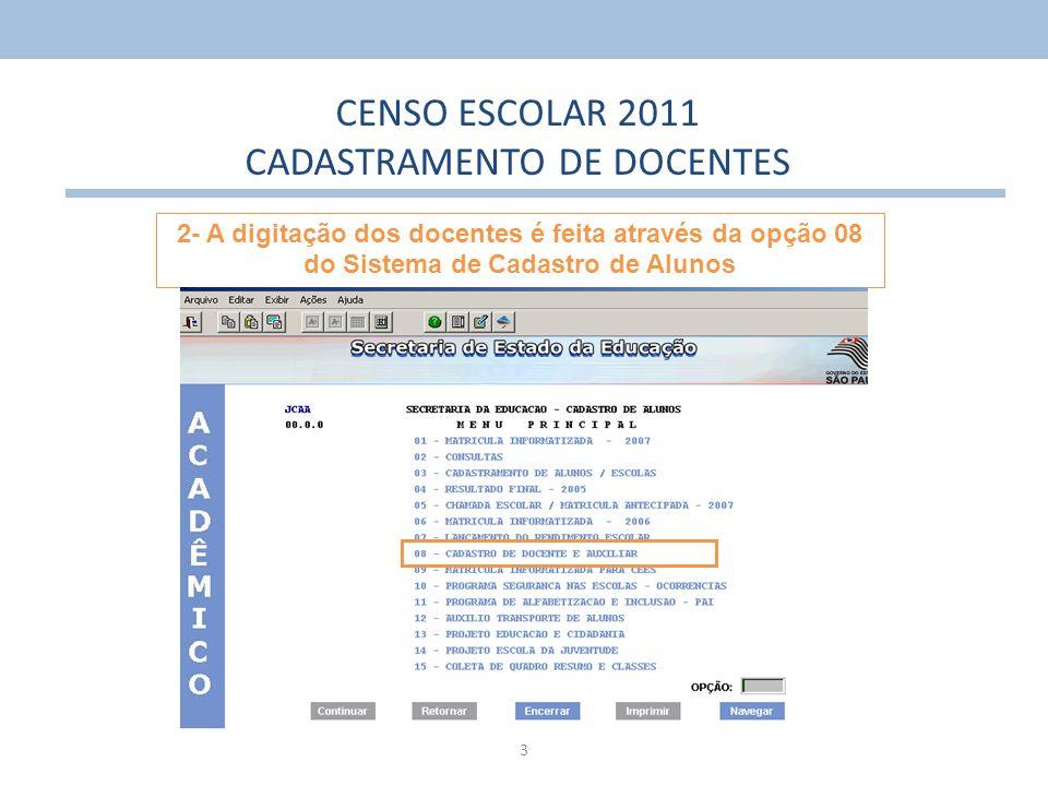 14 CENSO ESCOLAR 2011 CADASTRAMENTO DE DOCENTES Caso o docente não tenha cadastro (RD) será necessário cadastrá-lo na opção 8.3.0.