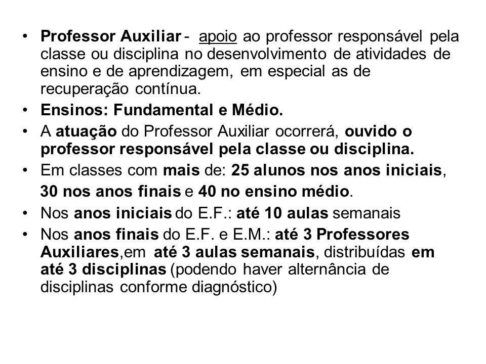 Professor Auxiliar - apoio ao professor responsável pela classe ou disciplina no desenvolvimento de atividades de ensino e de aprendizagem, em especia