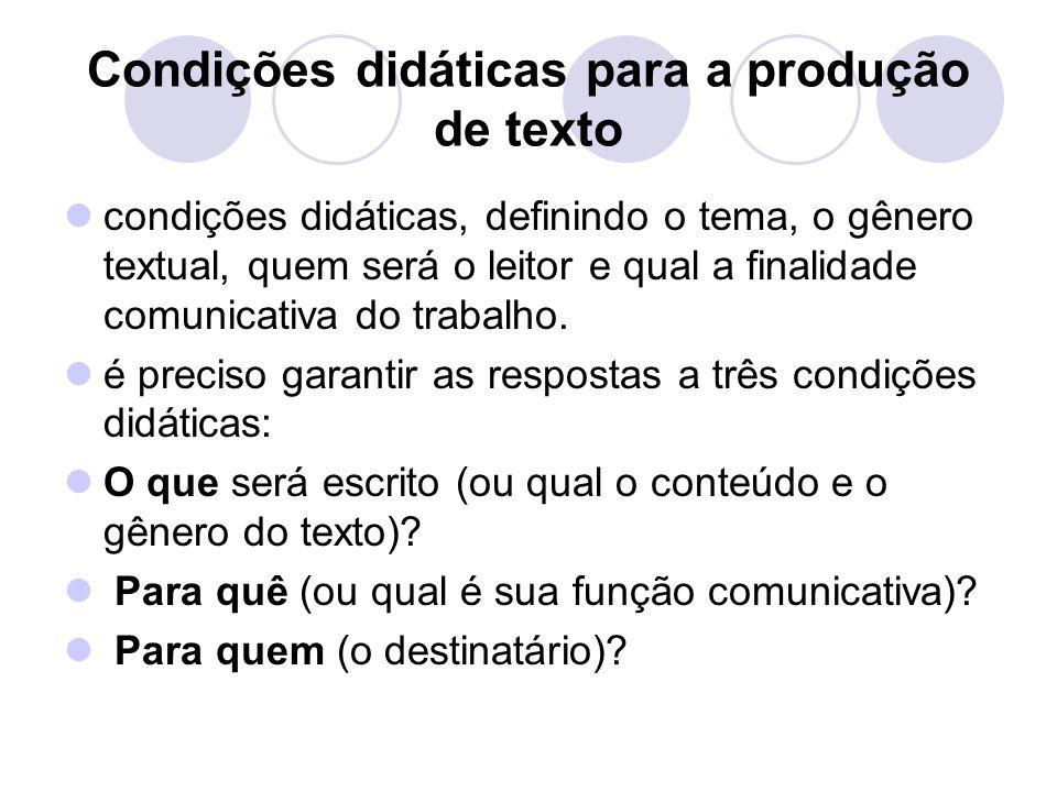 Condições didáticas para a produção de texto condições didáticas, definindo o tema, o gênero textual, quem será o leitor e qual a finalidade comunicat