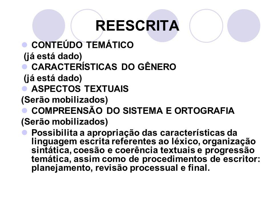REESCRITA CONTEÚDO TEMÁTICO (já está dado) CARACTERÍSTICAS DO GÊNERO (já está dado) ASPECTOS TEXTUAIS (Serão mobilizados) COMPREENSÃO DO SISTEMA E ORT