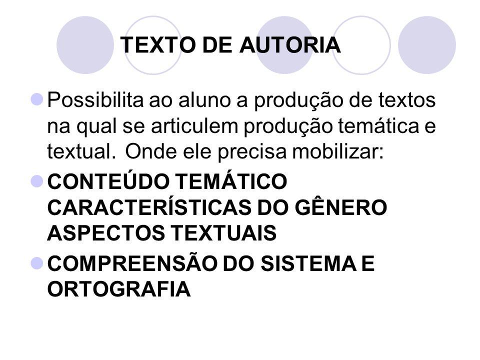 TEXTO DE AUTORIA Possibilita ao aluno a produção de textos na qual se articulem produção temática e textual. Onde ele precisa mobilizar: CONTEÚDO TEMÁ