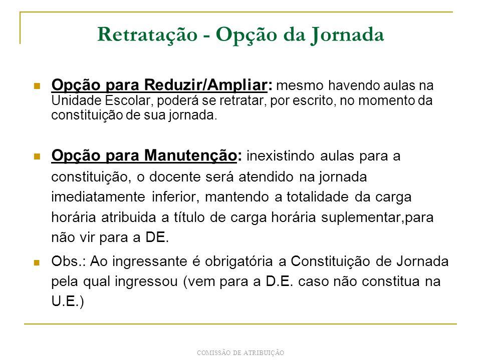 Retratação - Opção da Jornada Opção para Reduzir/Ampliar: mesmo havendo aulas na Unidade Escolar, poderá se retratar, por escrito, no momento da constituição de sua jornada.