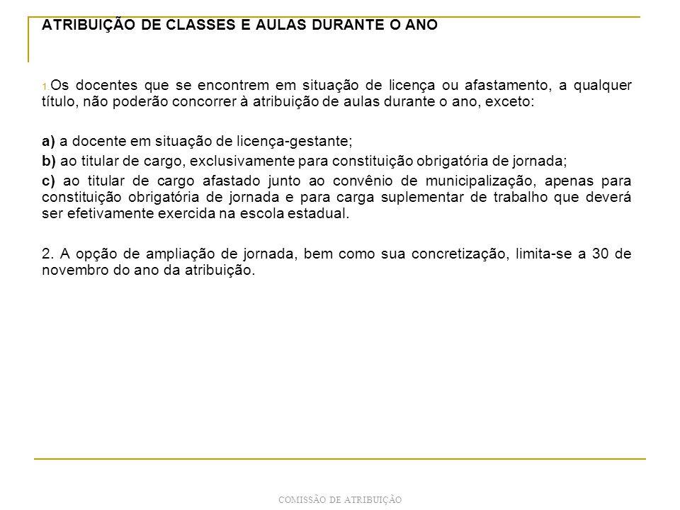 ATRIBUIÇÃO DE CLASSES E AULAS DURANTE O ANO 1.