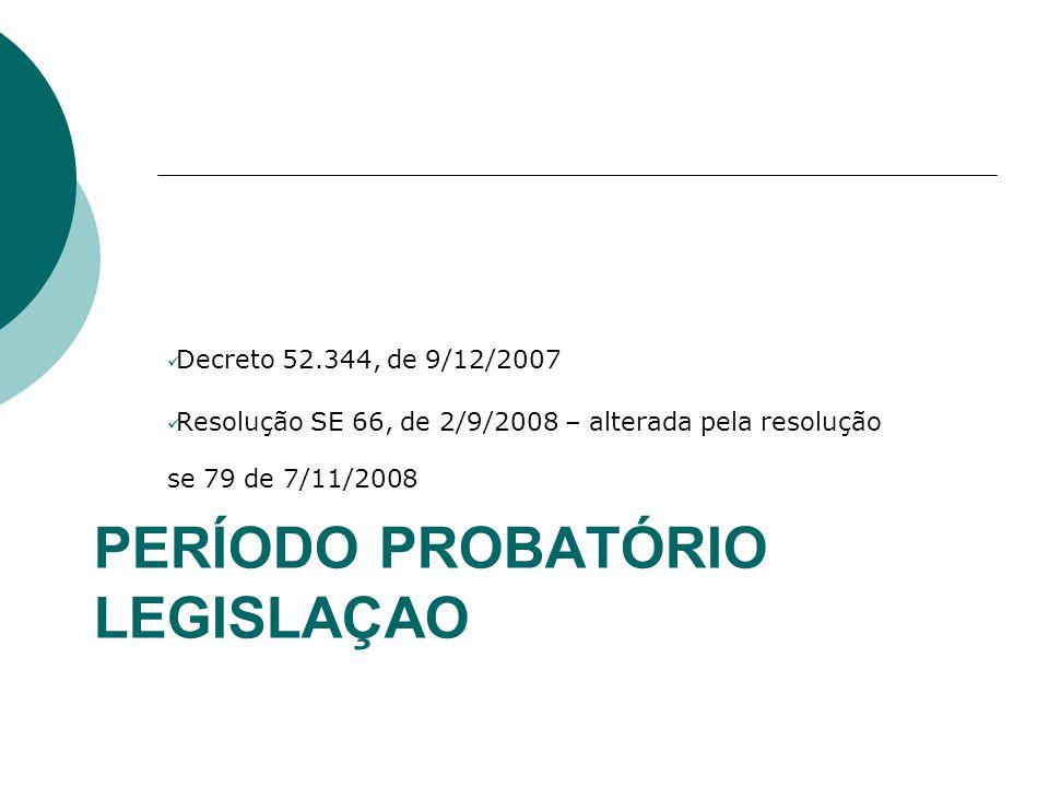 PERÍODO PROBATÓRIO LEGISLAÇAO Decreto 52.344, de 9/12/2007 Resolução SE 66, de 2/9/2008 – alterada pela resolução se 79 de 7/11/2008