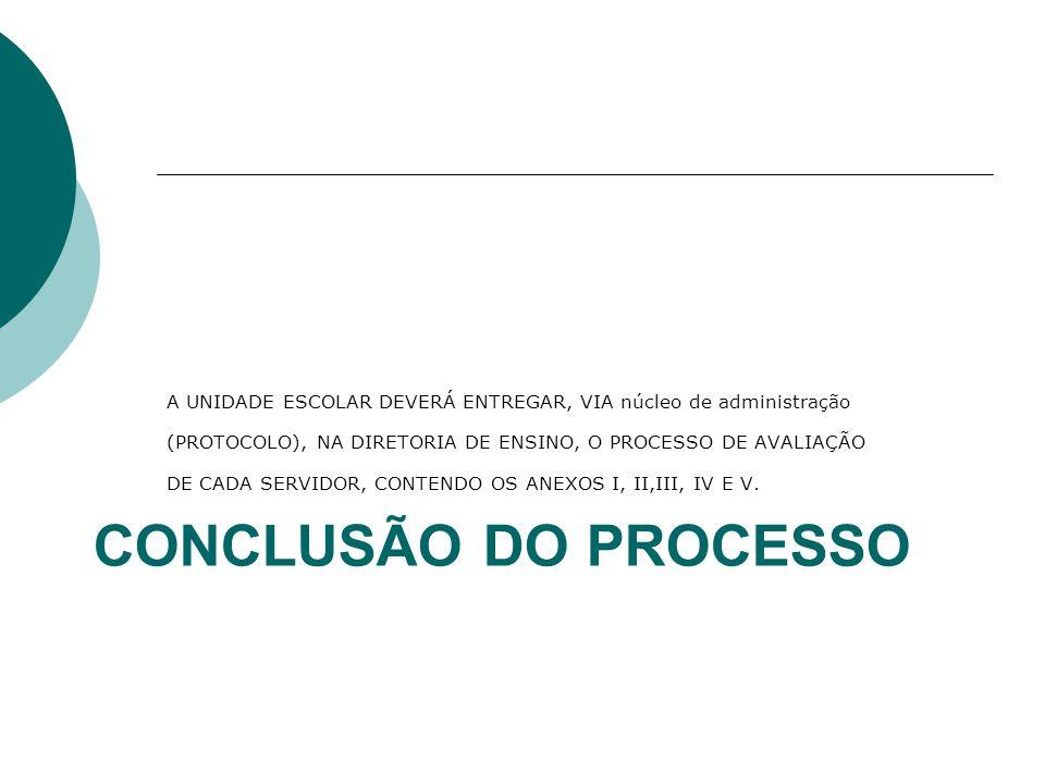 CONCLUSÃO DO PROCESSO A UNIDADE ESCOLAR DEVERÁ ENTREGAR, VIA núcleo de administração (PROTOCOLO), NA DIRETORIA DE ENSINO, O PROCESSO DE AVALIAÇÃO DE CADA SERVIDOR, CONTENDO OS ANEXOS I, II,III, IV E V.