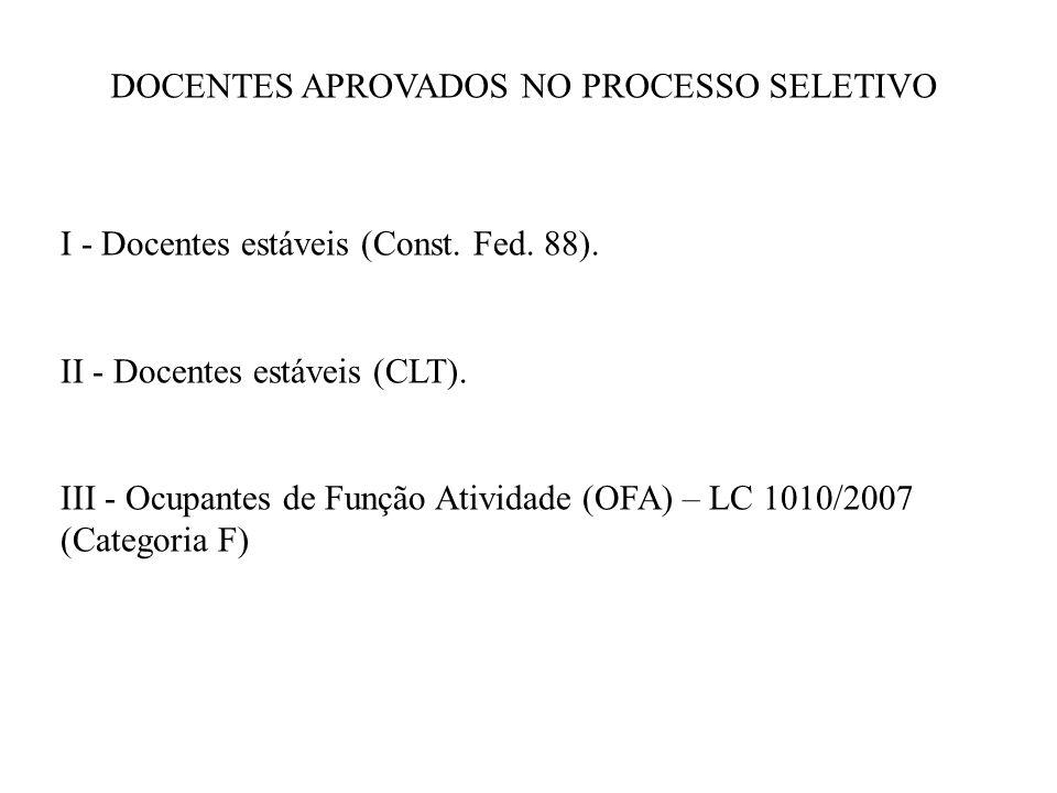 I - Docentes estáveis (Const.Fed. 88). II - Docentes estáveis (CLT).