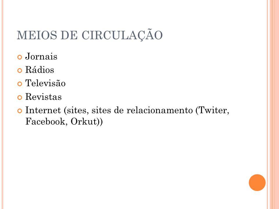MEIOS DE CIRCULAÇÃO Jornais Rádios Televisão Revistas Internet (sites, sites de relacionamento (Twiter, Facebook, Orkut))