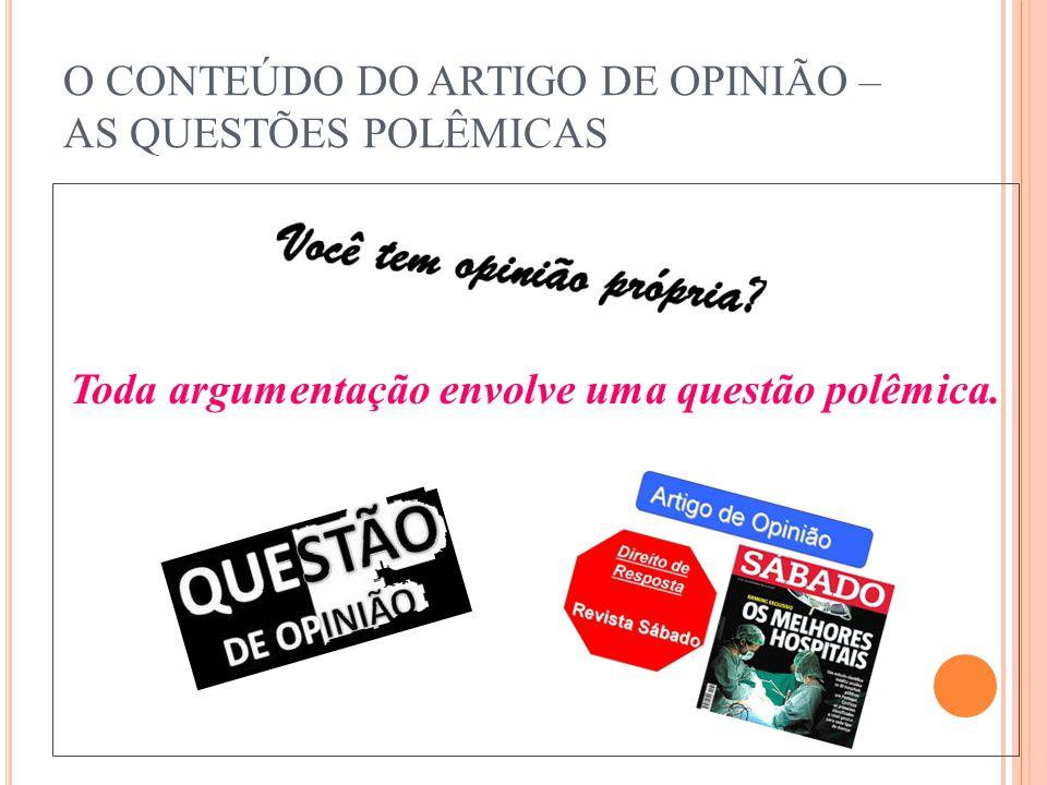 O CONTEÚDO DO ARTIGO DE OPINIÃO – AS QUESTÕES POLÊMICAS Toda argumentação envolve uma questão polêmica.