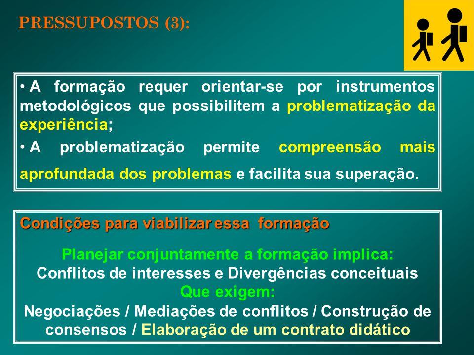 PRESSUPOSTOS (3): A formação requer orientar-se por instrumentos metodológicos que possibilitem a problematização da experiência; A problematização pe