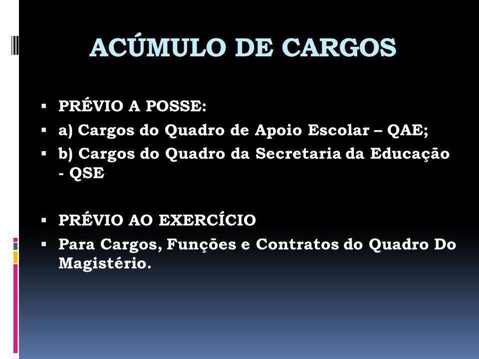 ACÚMULO DE CARGOS PRÉVIO A POSSE: a) Cargos do Quadro de Apoio Escolar – QAE; b) Cargos do Quadro da Secretaria da Educação - QSE PRÉVIO AO EXERCÍCIO Para Cargos, Funções e Contratos do Quadro Do Magistério.