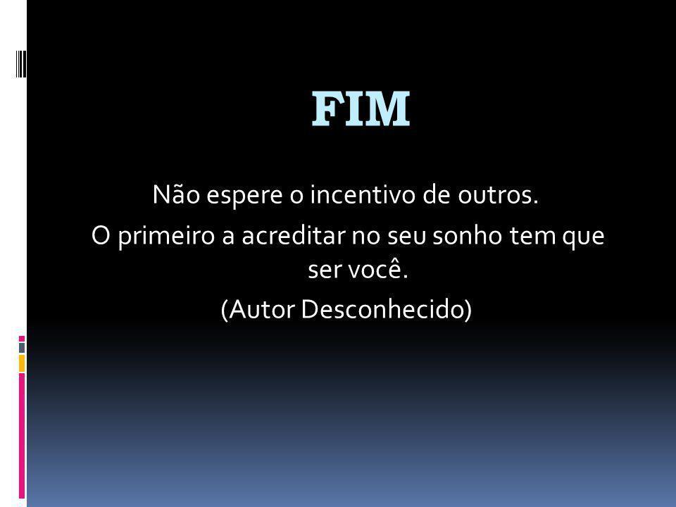 FIM Não espere o incentivo de outros.O primeiro a acreditar no seu sonho tem que ser você.