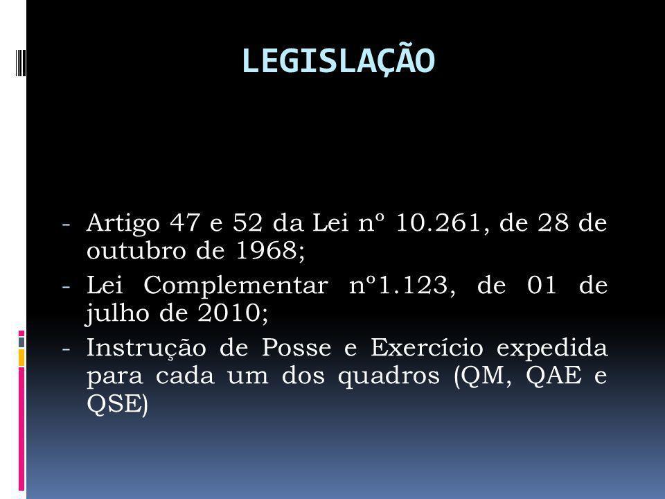LEGISLAÇÃO - Artigo 47 e 52 da Lei nº 10.261, de 28 de outubro de 1968; - Lei Complementar nº1.123, de 01 de julho de 2010; - Instrução de Posse e Exercício expedida para cada um dos quadros (QM, QAE e QSE)