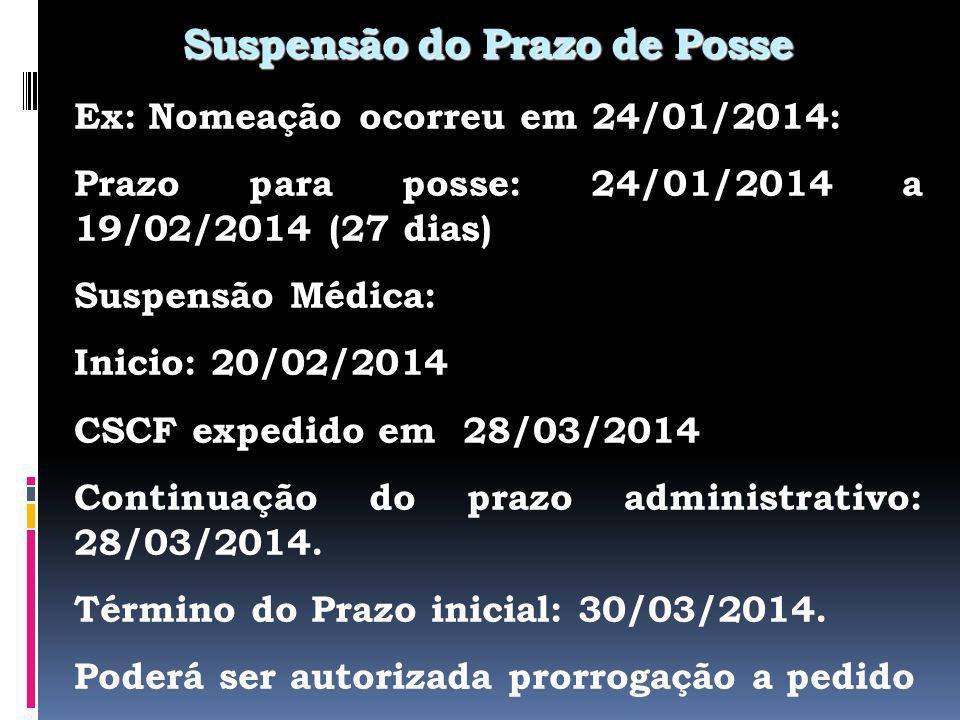 Suspensão do Prazo de Posse Ex: Nomeação ocorreu em 24/01/2014: Prazo para posse: 24/01/2014 a 19/02/2014 (27 dias) Suspensão Médica: Inicio: 20/02/2014 CSCF expedido em 28/03/2014 Continuação do prazo administrativo: 28/03/2014.
