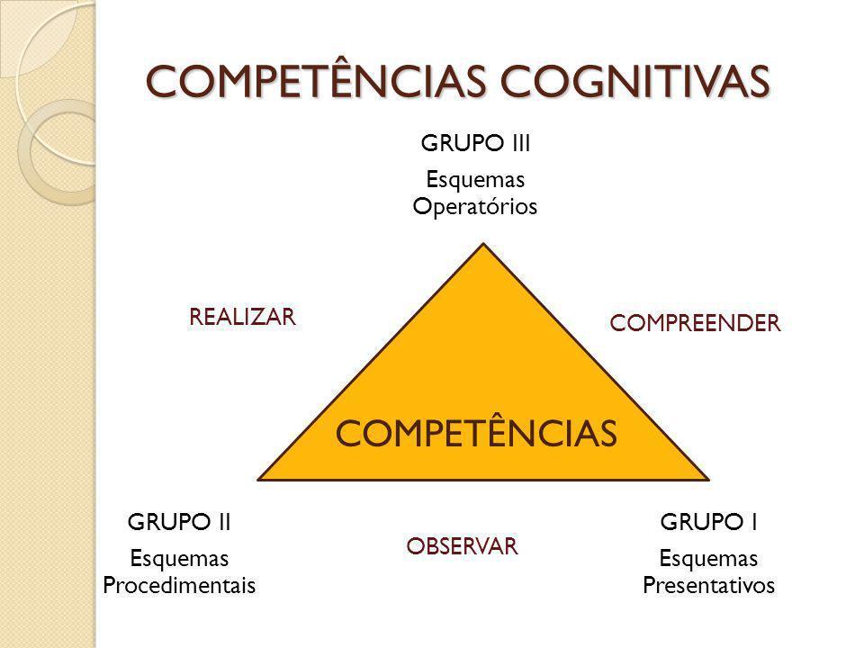 COMPETÊNCIAS COGNITIVAS GRUPO II Esquemas Procedimentais GRUPO I Esquemas Presentativos GRUPO III Esquemas Operatórios COMPETÊNCIAS REALIZAR COMPREEND