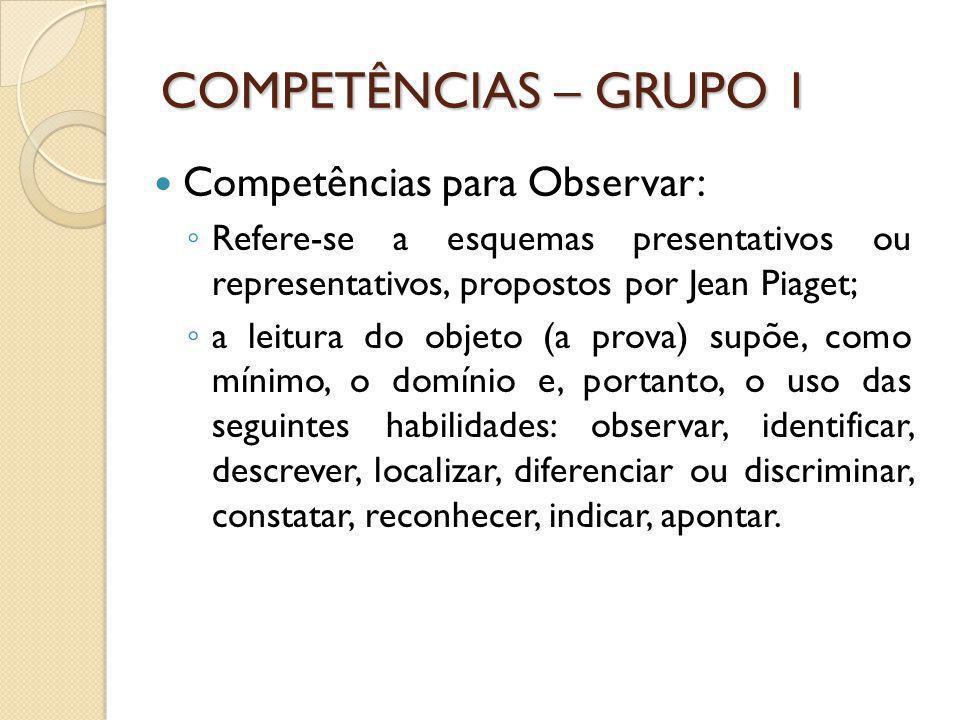 COMPETÊNCIAS – GRUPO 1 Competências para Observar: Refere-se a esquemas presentativos ou representativos, propostos por Jean Piaget; a leitura do obje