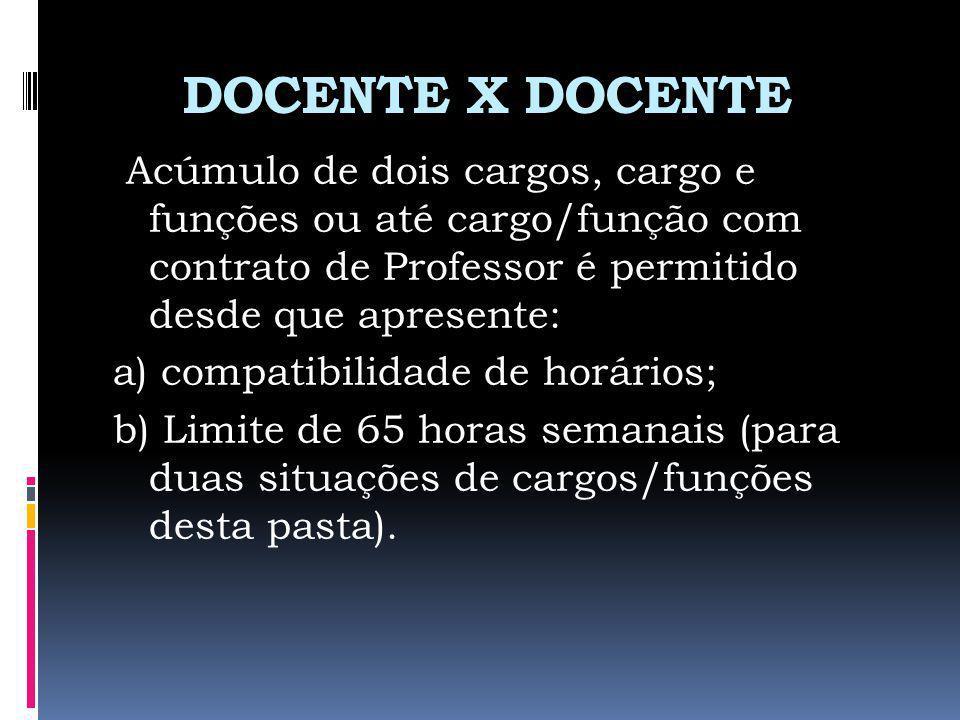 DOCENTE X DOCENTE Acúmulo de dois cargos, cargo e funções ou até cargo/função com contrato de Professor é permitido desde que apresente: a) compatibil
