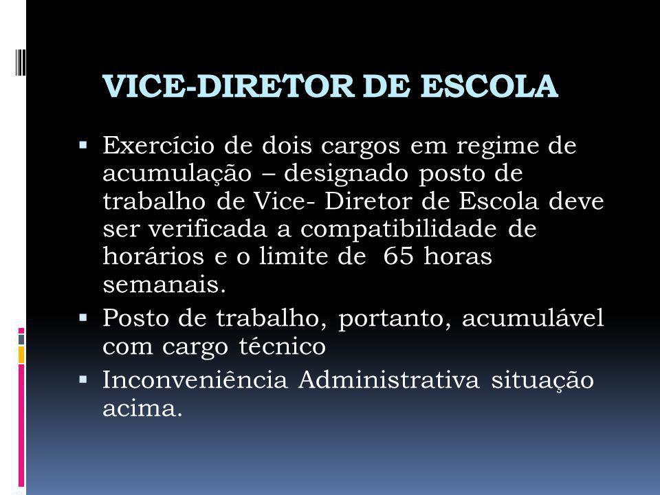 VICE-DIRETOR DE ESCOLA Exercício de dois cargos em regime de acumulação – designado posto de trabalho de Vice- Diretor de Escola deve ser verificada a