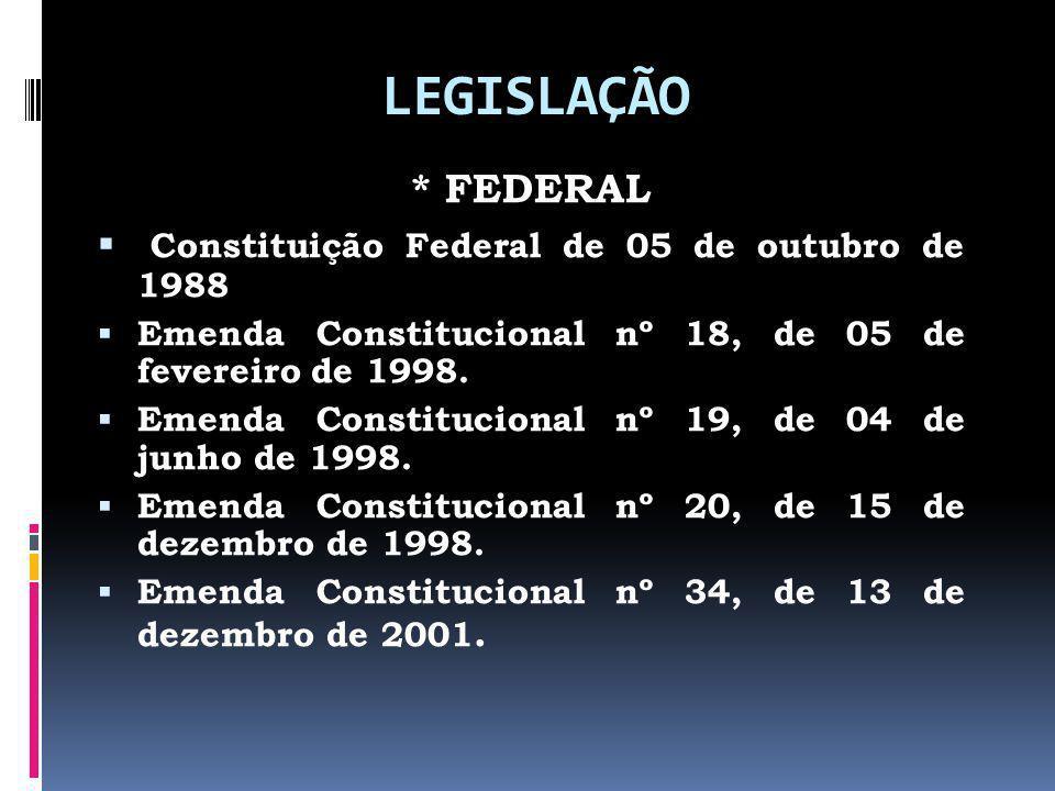 LEGISLAÇÃO * FEDERAL Constituição Federal de 05 de outubro de 1988 Emenda Constitucional nº 18, de 05 de fevereiro de 1998. Emenda Constitucional nº 1
