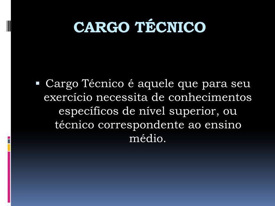 CARGO TÉCNICO Cargo Técnico é aquele que para seu exercício necessita de conhecimentos específicos de nível superior, ou técnico correspondente ao ens