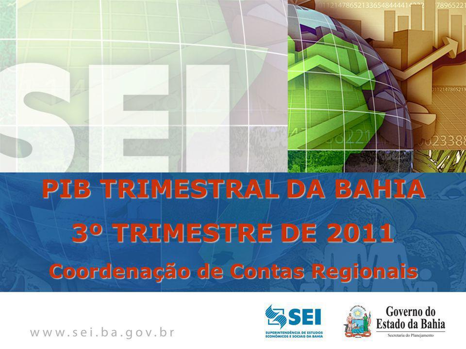 PIB TRIMESTRAL Bahia – 4º Trimestre de 2009 Bahia – 4º Trimestre de 2009 PIB TRIMESTRAL DA BAHIA 3º TRIMESTRE DE 2011 Coordenação de Contas Regionais