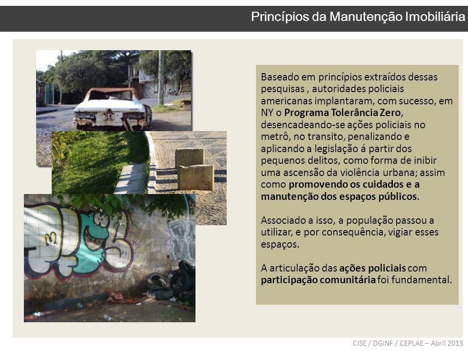 CISE / DGINF / CEPLAE – Abril 2013 Princípios da Manutenção Imobiliária Baseado em princípios extraídos dessas pesquisas, autoridades policiais americ